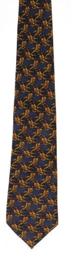 Bisley Silk Tie - Solid Blue Pheasants (JR-BIT47)